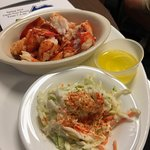 Hot lobster roll (no roll) & excellent coleslaw