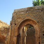 An ornate archway in the ruins of the mosque.