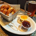 Pretzels with mustard and FIG JAM! Bell in Hand Ale