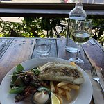 Grilled Barramundi with Grilled Vegetable salad & Chips.