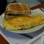 omelet served with toast
