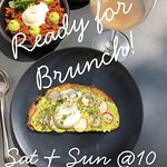 Saturday & Sunday Brunch, Avacado Toast with Egg, Chorizo Rancheros, Bellini, Potatoes