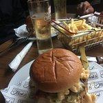 Burger and Mac and Cheese
