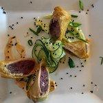 Tuna egg roll appetizer