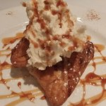 Fried apple pie with mascarpone whipped topping
