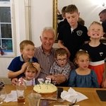 Jac with his cake, great nieces and nephews....we had fun with 57!!!!