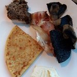 Selection from breakfast buffet, including haggis!