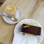Great coffee and multi-layered chocolate mousse cake - recommended