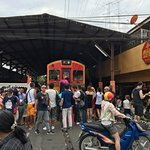 Crowd waiting to take photo with the train