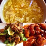 Egg Drop Soup, Oyster Beef, and General Tso's Chicken. Extra spicy on the beef with oyster sauce