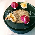 Double Amuse with Beet Macaroons and Pork Cracklin's