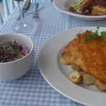 Pork schnitzel, potatoes and slaw