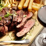 Josper grilled Chateaubriand, served with chips, green beans, cherry tomatoes, wild mushrooms