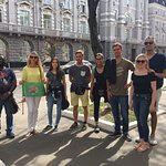 Our group in front of the former KGB building in Kiev with our lovely guide Lyudmila!