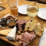 Trench Menu: charcuterie board, beer and cider