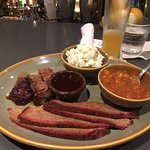 Burnt ends and brisket with beans and potato salad