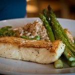 Seared Alaskan halibut with fresh asparagus