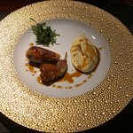 Free-range quail with foie gras, served with mashed potato
