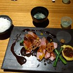 Miso, small bowl of rice and duck with orange