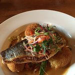 Sea bass with crab fish cakes on stir fried vegetables