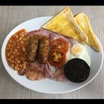 English with black pudding & cumberlands.
