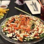 Shrimp and salmon caprese salad