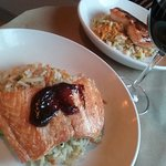Salmon with Korean BBQ sauce and rice