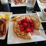The pancakes are so large, I can only down one.