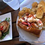 Lobster roll and crab cakes