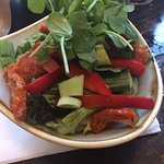 Super food salad which comprises of peppers, cucumber, sun-dried tomatoes & spring onions.