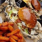 Bacon burger + sweet potatoes