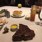 T- Bone Steak with side of Garlic seasoned Fries and Asparagus