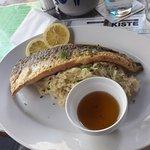 Fried fish & mash potato with sauerkraut