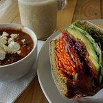 Veggie sandwich, sweet potato chili, hemp shake