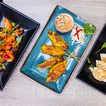 Tapas Style! Hot and Sour Seafood, Chicken Satay and Pork and Shiitake Dumplings