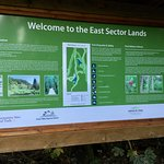 Bulletin board at trail entrance - history and info about area, trails, etc.