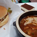 Tomatoe Soup w/Yuba, Vegetarian Hamburguer & Tiramisu Dessert