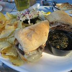 French Dip Sandwich with chips and coleslaw