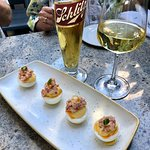 Lobster stuffed deviled eggs-and Schlitz on draft!