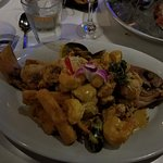 De-boned fish with shrimp, clams, mussels in a yummy sauce.