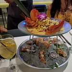 Lobster tower with claims and shrimp cocktail
