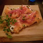 Smoked salmon brushetta