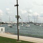 sailboats at a marina along the trail