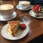 breakfast...quiche, granola, lattes