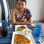 Quiche and Geraldine's Favorite at outside table
