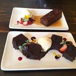 Vegan sticky toffee pudding and vegan chocolate brownie.