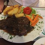 peppercorn steak with dark gravy