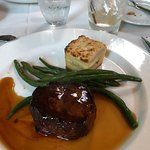 filet with beans and boursin potatoes