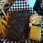 Half rack ribs, Jalapeno Cornbread,Fries and Mac and Cheese
