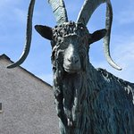 Close up of sculpture of mountain goat